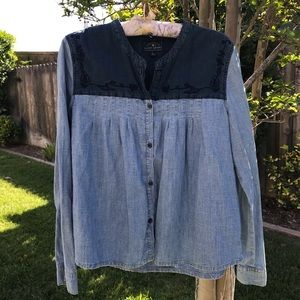 Lucky Brand Embriodered Long Sleeve Button Down